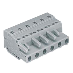 Male and Female Side Spring Type Connector of 231 Series and with 7.5 mm Pitch Can Connect to 731-600 Series Connectors, and Corresponding Circuit Board Can Connect to 231-200 Series/800 Series Connectors.