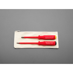 [2 Pcs] (+)(-) Insulated Screwdriver EA560PL-10