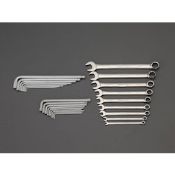 [27 Pcs] Combination Spanner & Hexagonal Wrench Set (With Tray) EA687YA-16