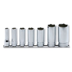 "Hand Socket 3/8"" ""(9.5 mm) 12-Sided Deep Socket Rail Set RS3305W/7"