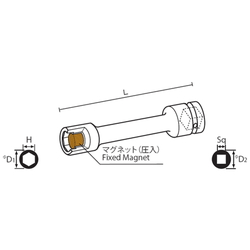9.52 mm Square Drive Sockets Socket with Magnet, MP Extension Type Extension Sockets(Singel Hex)