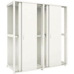 TRUSCO Light- to Medium-Weight Boltless Rack, M2 Model (200 kg Panel Type with Double Sliding Door, 1,800 mm Height, and 3 Levels), Model with Two Connected (Height 1,800 mm with Back Plate)