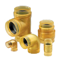 External Surface Transparent Coating for Fire Protection Piping 10 K Fittings VF Gold, Unequal Diameter Elbow