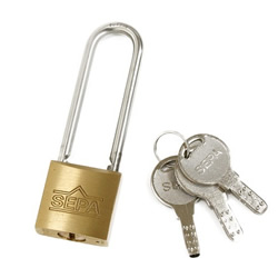 Dimpled Padlock, Long Shackle, Different Key Number