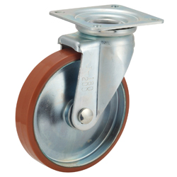 Casters for Medium Loads, P-WJ Model Logllan (Urethane) Wheeled Model with Swivel Bracket