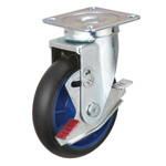 Low Starting Resistance Caster LR-WJB Type, Type with Rubber Wheel, Swiveling Fittings with Stopper