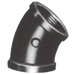 Screw-In Malleable Cast Iron Pipe Fitting, 45° Elbow with Collar