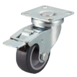 Casters - Light Load- Wheel Material: TPE - Swivel Type + Stopper