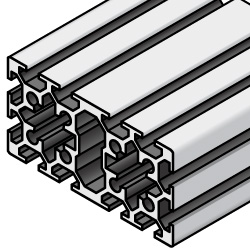 Aluminum Extrusion 5 Series/slot width 6/ 40x80mm, Parallel Surfacing