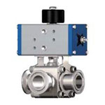 Small Caliber Air-Driven 3-Way Ball Valve (Double Action)