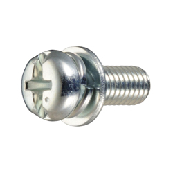 Cross/Straight-Recessed Pan Head Screw, I=3 (SW + ISO Flat W)