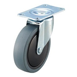 Reduced Noise Caster, Elastomer Wheels, Freely Rotating